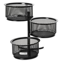 Rolodex 3 Tier Wire Mesh Swivel Tower Paper Clip Holder, 3 3/4 x 6 1/2 x 6, Black ROL62533