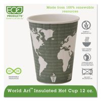 Eco-Products World Art Renewable & Compostable Insulated Hot Cups - 12oz., 40/PK, 15 PK/CT ECOEPBNHC12WD