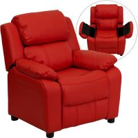 Flash Furniture Deluxe Padded Contemporary Red Vinyl Kids Recliner with Storage Arms FHFBT7985KIDREDGG