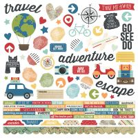 "Travel Notes Cardstock Stickers 12""X12"" NOTM354016"