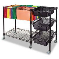 Vertiflex Mobile File Cart w/Drawers, 38w x 15 1/2d x 28h, Black VRTVF50621
