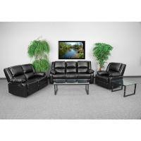 Flash Furniture Harmony Series Black Leather Reclining Sofa Set FHFBT70597RLSSETGG