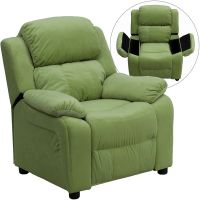 Flash Furniture Deluxe Padded Contemporary Avocado Microfiber Kids Recliner with Storage Arms FHFBT7985KIDMICAVOGG