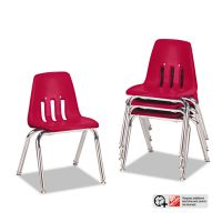 "Virco 9000 Series Classroom Chairs, 14"" Seat Height, Red/Chrome, 4/Carton VIR901470"