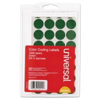 "Universal Self-Adhesive Removable Color-Coding Labels, 3/4"" dia, Green, 1008/Pack UNV40115"