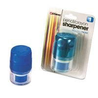 Officemate Twin Pencil/Crayon Sharpener with Cap, Blue OIC30220