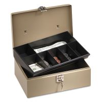 PM Company SecurIT Lock'n Latch Steel Cash Box w/7 Compartments, Key Lock, Pebble Beige PMC04963