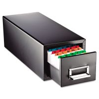 SteelMaster Drawer Card Cabinet Holds 1,500 3 x 5 cards, 7 3/4 x 18 1/8 x 7 MMF263F3516SBLA