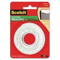 """Scotch Foam Mounting Double-Sided Tape, 1/2"""" Wide x 75"""" Long MMM110"""