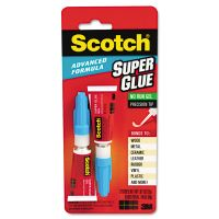 Scotch Single Use Super Glue, 1/2 Gram Tube, Gel, 2/Pack MMMAD122