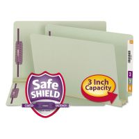 Smead Three Inch Expansion Folder, Two Fasteners, End Tab, Legal, Gray Green, 25/Box SMD37725