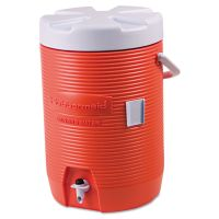 "Rubbermaid Commercial Insulated Beverage Container, 3gal, 11"" dia x 16 7/10h, Orange/White RUB16830111"