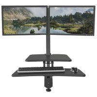 BALT Up-Rite Desk Mounted Sit-Stand Workstation, Double, 27 1/8 x 30 x 42, Dark Gray BLT90531