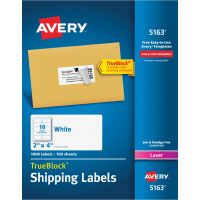 Avery Shipping Labels with TrueBlock Technology, Laser, 2 x 4, White, 1000/Box AVE5163