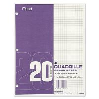 Mead Graph Paper, Quadrille (4 sq/in), 8 1/2 x 11, White, 20 Sheets/Pad, 12 Pads/Pack MEA19010