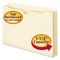 "Smead Manila File Jackets, 2-Ply Top, 1 1/2"" Exp, Legal, 11 Point, Manila, 50/Box SMD76540"
