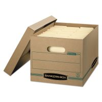 Bankers Box STOR/FILE Storage Box, Letter/Legal, Lift-off Lid, Kraft/Green, 12/Carton FEL1277601