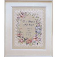 Dimensions Two Hearts Wedding Record Stamped Cross Stitch Kit NOTM237652