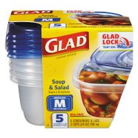 Glad Soup and Salad Food Storage Containers 24 oz, 5/Pack CLO60796PK