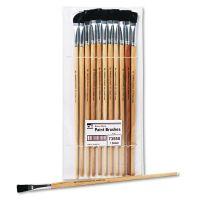Charles Leonard Long Handle Easel Brush, Size 12, Natural Bristle, Flat, 12/Pack LEO73550