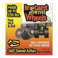 Master Caster Roll-Arounds Instant Swivel Wheels, Self-Adhesive, Black, 4/Set MAS17240