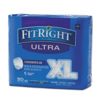 "Medline FitRight Ultra Protective Underwear, X-Large, 56-68"" Waist, 20/Pack MIIFIT23600A"