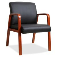 Lorell Black Leather Wood Frame Guest Chair LLR40200