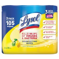 LYSOL Brand Disinfecting Wipes, 7 x 8, Lemon and Lime Blossom, 35/Canister, 3/Pack RAC82159