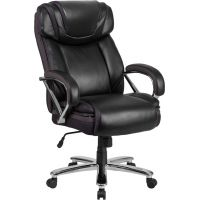 Flash Furniture HERCULES Series Big & Tall Leather Executive Swivel Office Chair with Extra Wide Seat FHFGO2092M1BKGG