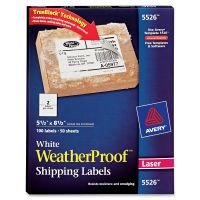 Avery WeatherProof Shipping Labels w/TrueBlock, Laser, White, 5 1/2 x 8 1/2, 100/Pack AVE5526