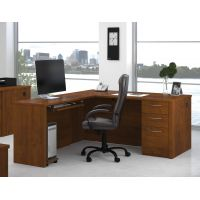 "Bestar Embassy 66"" L-shaped desk in Tuscany Brown BESBES6085263"