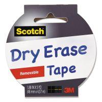 "Scotch Dry Erase Tape, 1.88"" x 5yds, 3"" Core, White MMM1905RDEWHT"