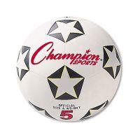 Champion Sports Rubber Sports Ball, For Soccer, No. 5, White/Black CSISRB5