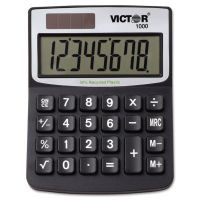 Victor 1000 Minidesk Calculator, Solar/Battery, 8-Digit LCD VCT1000