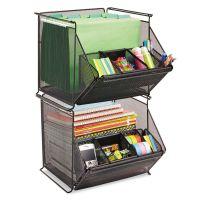 Safco Onyx Stackable Mesh Storage Bin, 4-Compartment, 14 x 15 1/2 x 11 3/4, Black SAF2164BL