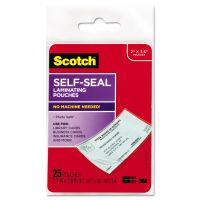 Scotch Self-Sealing Laminating Pouches, 9.5 mil, 2 7/16 x 3 7/8, Business Card Size, 25 MMMLS851G