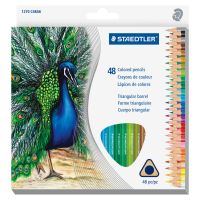 Staedtler Triangular Colored Pencil Set, H/#3, 2.9mm, 48 Assorted Colors STD1270C48A6
