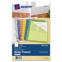 Avery Small Binder Pockets, Standard, 7-Hole Punched, Assorted, 5 1/2 x 9 1/4, 5/Pack AVE75307