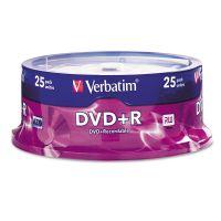 Verbatim DVD+R Discs, 4.7GB, 16x, Spindle, Silver, 25/Pack VER95033