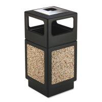 Safco Canmeleon Ash/Trash Receptacle, Square, Aggregate/Polyethylene, 38gal, Black SAF9473NC