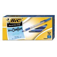 BIC Round Stic Grip Xtra Comfort Ballpoint Pen, Blue Ink, 1.2mm, Medium, Dozen BICGSMG11BE