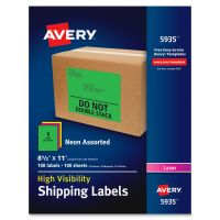 Avery Neon Shipping Label, Laser, 8 1/2 x 11, Neon Assorted, 100/Box AVE5935