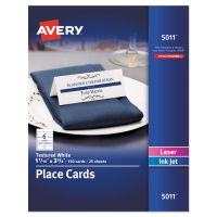 Avery Small Textured Tent Cards, White, 1 7/16 x 3 3/4, 6 Cards/Sheet, 150/Box AVE5011