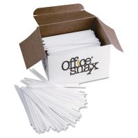 "Office Snax Plastic Stir Sticks, 5"", Plastic, White, 1000/Box OFXSTR5"