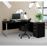 Bestar Pro-Concept Plus L-Desk with Metal Leg in Deep Grey & Black BESBES11089132