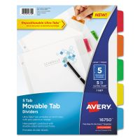 Avery Movable Tab Dividers, 5-Tab, Multi-color Tab, Letter, 1 Set AVE16750