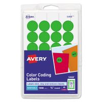 "Avery Printable Removable Color-Coding Labels, 3/4"" dia, Neon Green, 1008/Pack AVE05468"