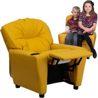 Flash Furniture Contemporary Yellow Vinyl Kids Recliner with Cup Holder FHFBT7950KIDYELGG