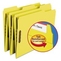 Smead Folders, Two Fasteners, 1/3 Cut Assorted Top Tab, Letter, Yellow, 50/Box SMD12940