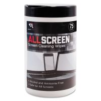 "Read Right AllScreen Screen Cleaning Wipes, 6"" x 6"", White, 75/Tub REARR15045"